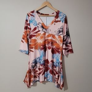 Lily Long Sleeve Floral Tunic Top Large